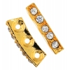 Rhinestone Spacer 3Hole 18x11mm Curved Gold/Crystal